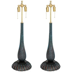 Barovier Blue and Copper Murano Glass Lamps