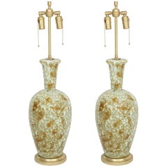 Muted Green Volcanic Glazed Lamps