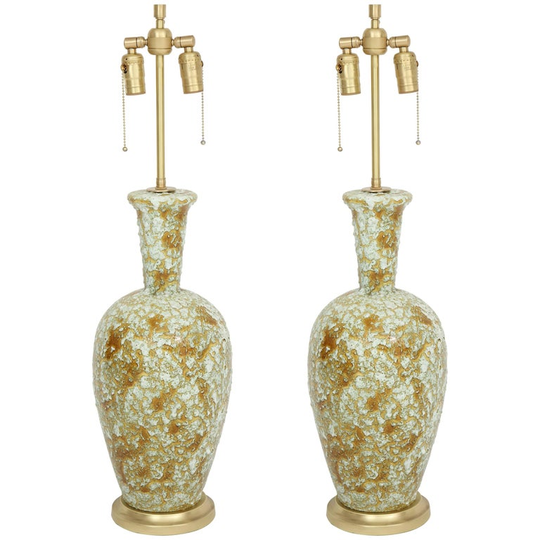 Muted Green Volcanic Glazed Lamps For Sale