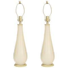 Venini Ivory White Murano Glass Lamps
