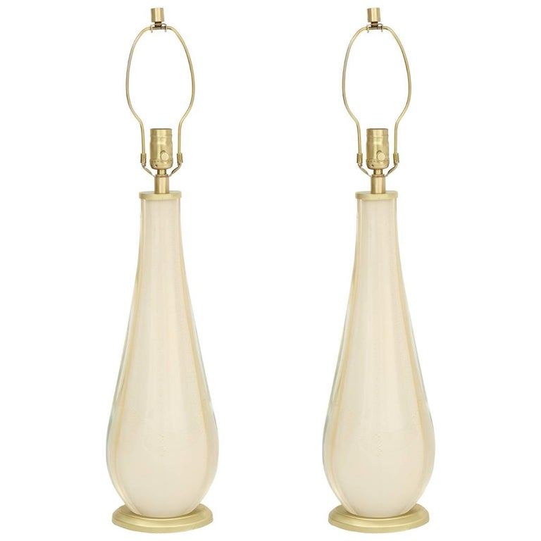 Venini Ivory White Murano Glass Lamps For Sale