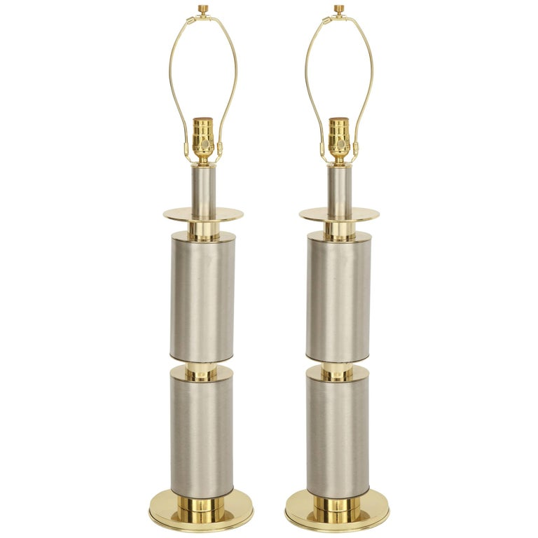 Laurel Modernist Brushed Steel and Brass Lamps