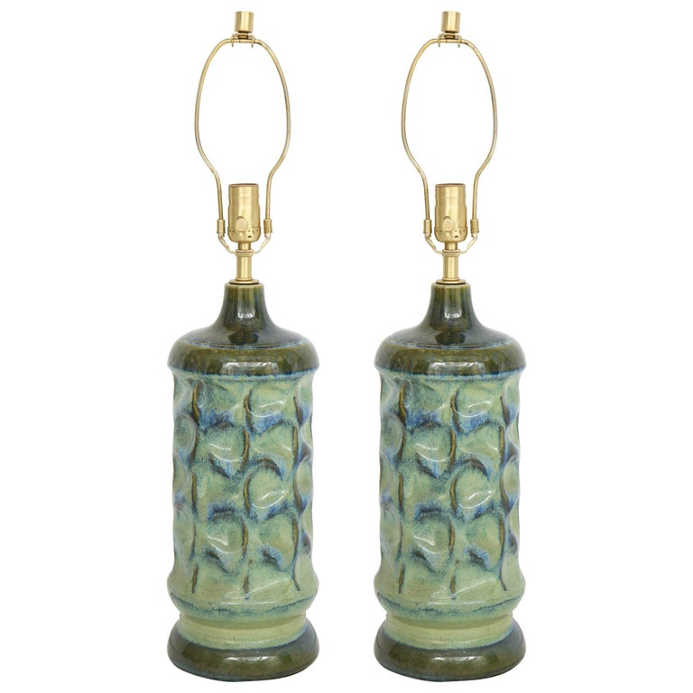 West German Seafoam Glazed Porcelain Lamps