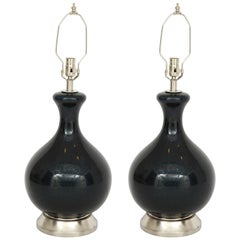 Eglomise Black, Navy Blown Glass Lamps