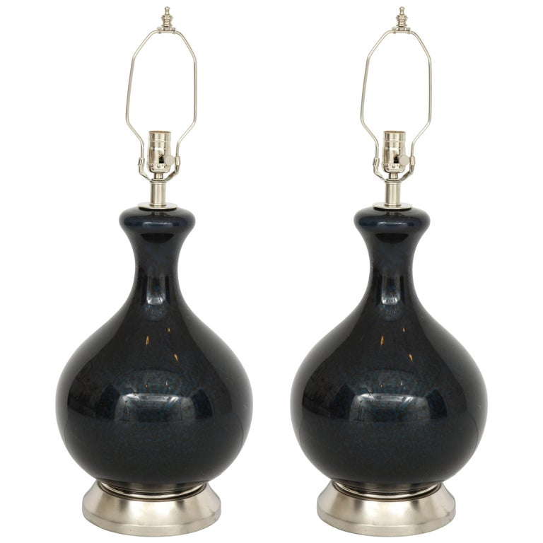 Eglomise Black, Navy Blown Glass Lamps For Sale