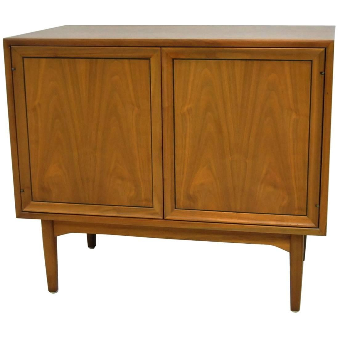 Exceptional Midcentury Walnut Record Cabinet By Drexel