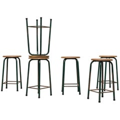 Set of Six Industrial Science Lab Stools