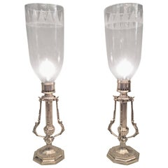 Pair of 19th Century English Regency Ship Hurricane Candlesticks with Savers