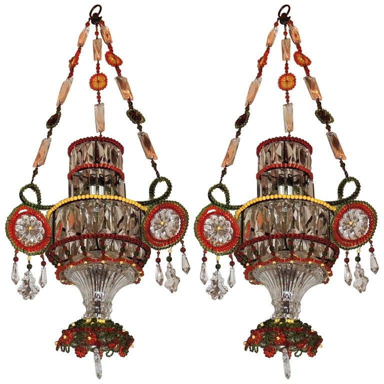Wonderful Pair of Multicolored Beaded Crystal Pendent Chandelier Light Fixture