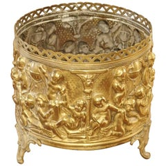 Small Antique French Brass Repousse Planter, circa 1900