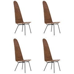 1950s Set of Four Carlo Hauner Chairs in Wrought Iron and Reed, Brazil Modern
