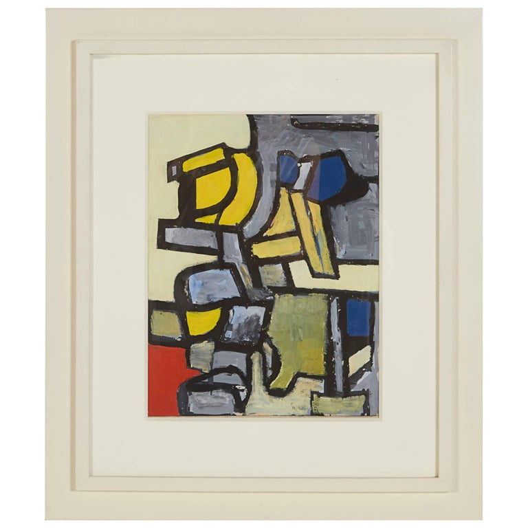 """""""Abstraction CH Collection #H"""" Gouache on Paper by Nell Blaine, USA, 1940s"""