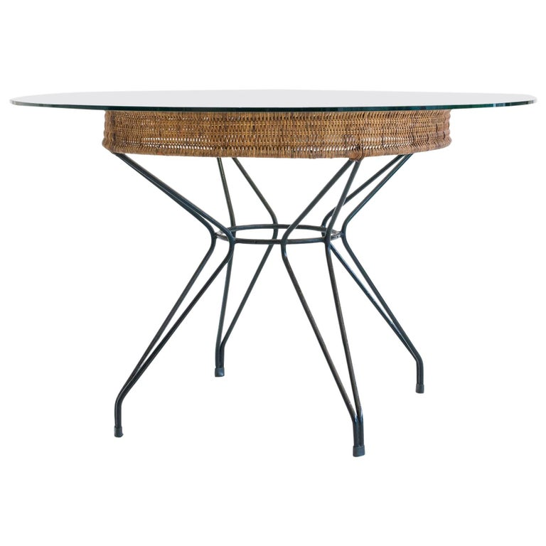 Eisler & Hauner Round Dining Table in Wrought Iron and Reed, Brazil, 1950s