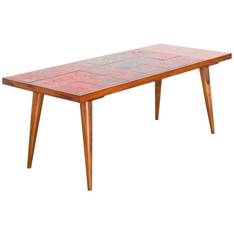 Coffee Table in Caviúna and Fat Lava Ceramic Tiles, Brazil, 1950s