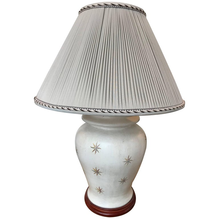 20th Century Hand-Painted Wood Lamp For Sale