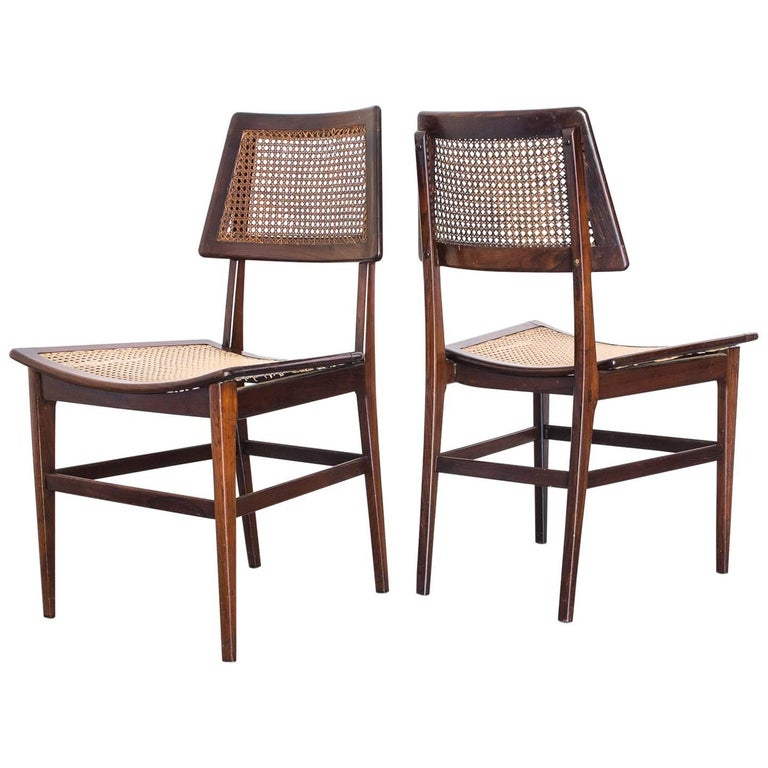 "Pair of Rosewood ""Curved Seat"" Chairs by Joaquim Tenreiro, Brazil, 1960s"
