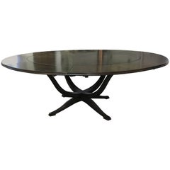 Round Midcentury Expanding Perimeter Walnut Dining Table
