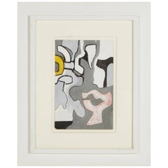 """Nell Blaine """"Abstraction"""" Gouache and India Ink on Paper, USA, 1944"""