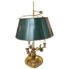 Green Metal Lamp with Brass Arms and Base