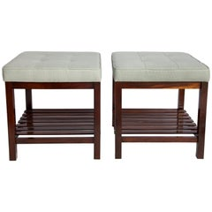 Brazilian Mid-Century Modern Jacaranda Stools with Slatted Shelf