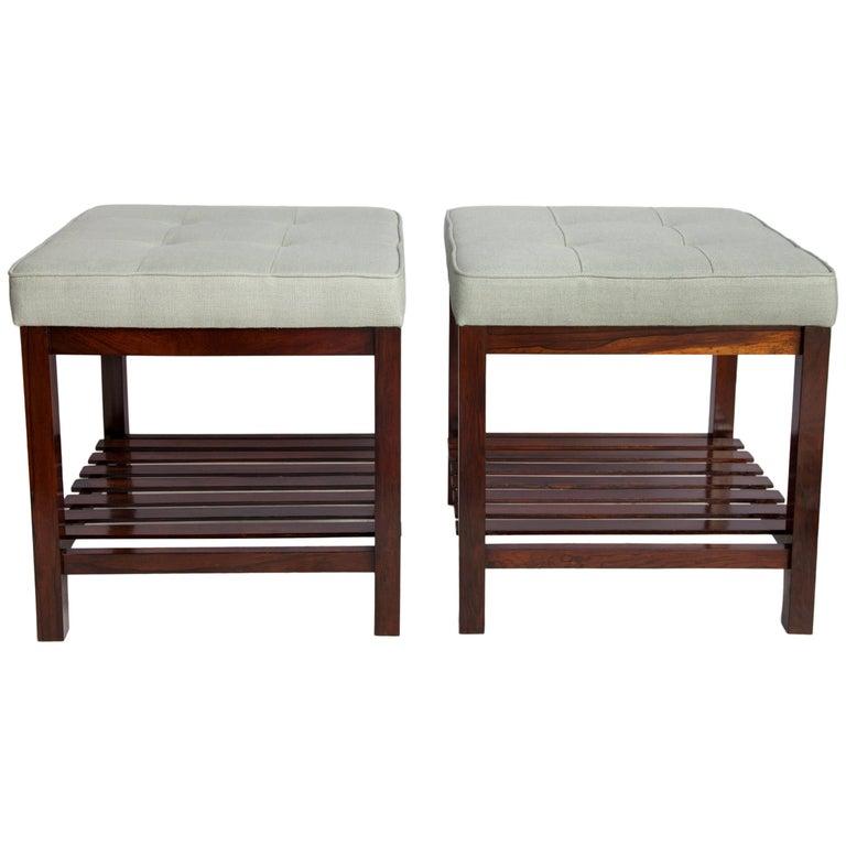 Brazilian mid century modern jacaranda stools with slatted shelf for sale at 1stdibs - Brazilian mid century modern furniture ...