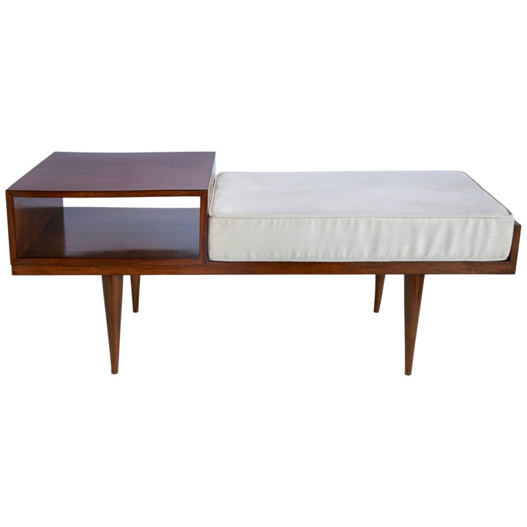 Brazilian mid century modern telephone seat in jacaranda with tapered legs for sale at 1stdibs - Brazilian mid century modern furniture ...