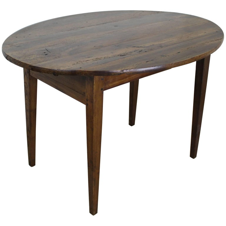 Antique Oval Walnut Occasional Table with One Drawer 1