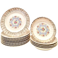 "Mid-Century American 22-Karat Gold Limoges Dinnerware ""Lyric"" S/15"
