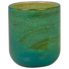 Vintage Handblown Turquoise Signed Mdina Glass, circa 1975