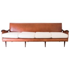 Liceu de Artes e Ofícios Sofa in Rosewood and Leather, Brazil, 1950s