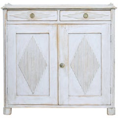 19th Century, Swedish Painted White Sideboard