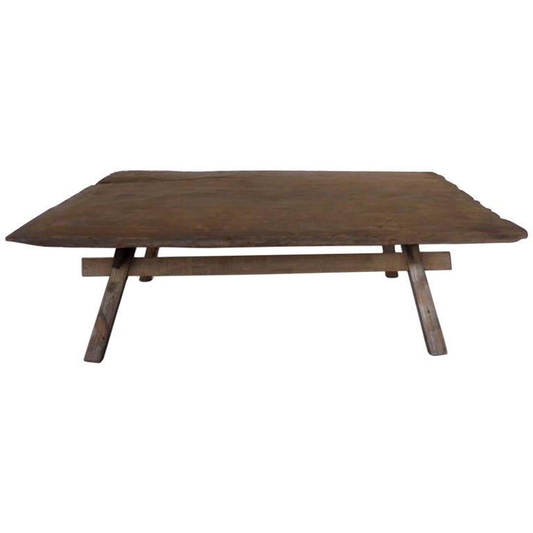 Primitive Coffee Table With Straight Legs At 1stdibs