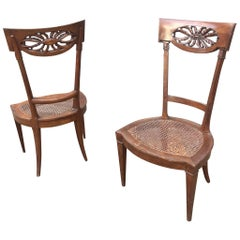 Pair of Ancient Cherry Wood Chairs, 18th Century