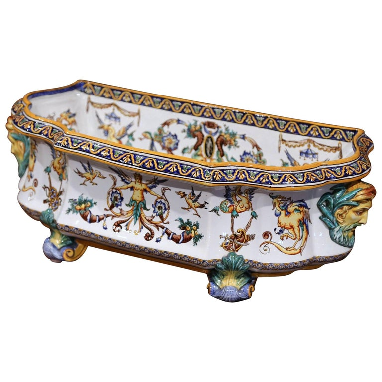 Large 19th Century French Louis XV Hand-Painted Faience Jardinière Signed Gien
