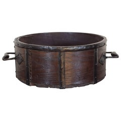French Mid-19th Century Wooden and Iron Grain Measure