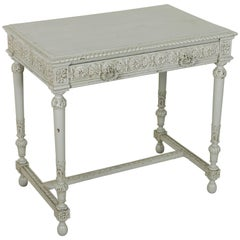 Late 19th Century Painted, Hand-Carved Louis XVI Style Writing Desk with Drawer