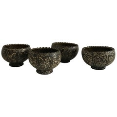 Collection of 20th Century, 1950 Indian Brass and Bone Inlay Bowls