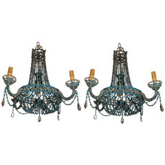 Vintage Pair of Turquoise Beaded Crystal Basket Chandelier Italian Swag Fixtures
