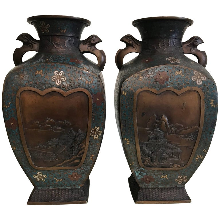 Pair of Cloisonné Vases For Sale