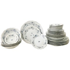"Johann Haviland German Porcelain & Platinum ""Blue Garland"" Dinnerware Set of 30"