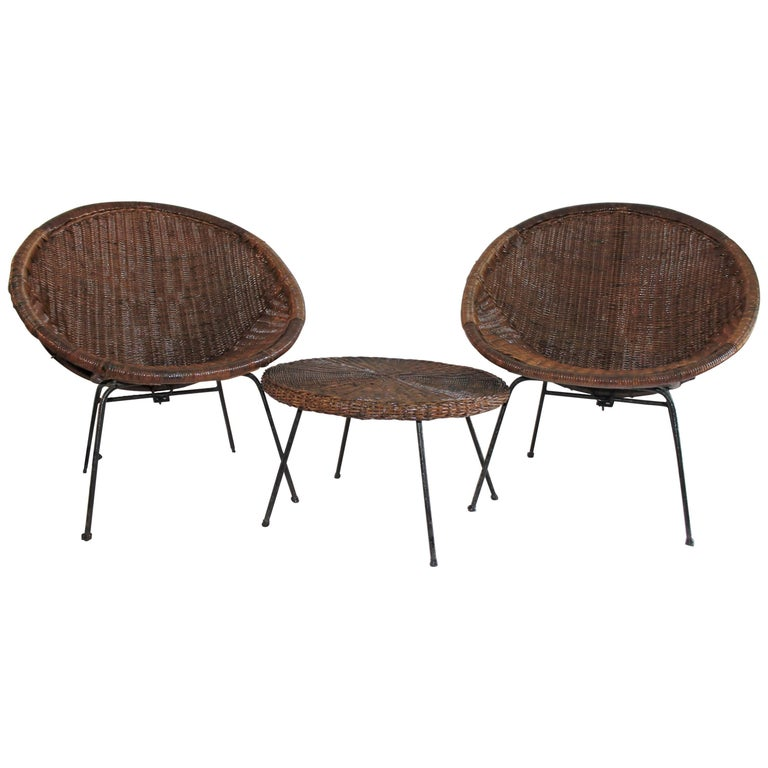 Cone Wicker Chair And Side Table Set Three Pieces Set At