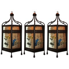 Three Chinoiserie Octagonal Mirrored Reverse, Patinated Lantern Pendent