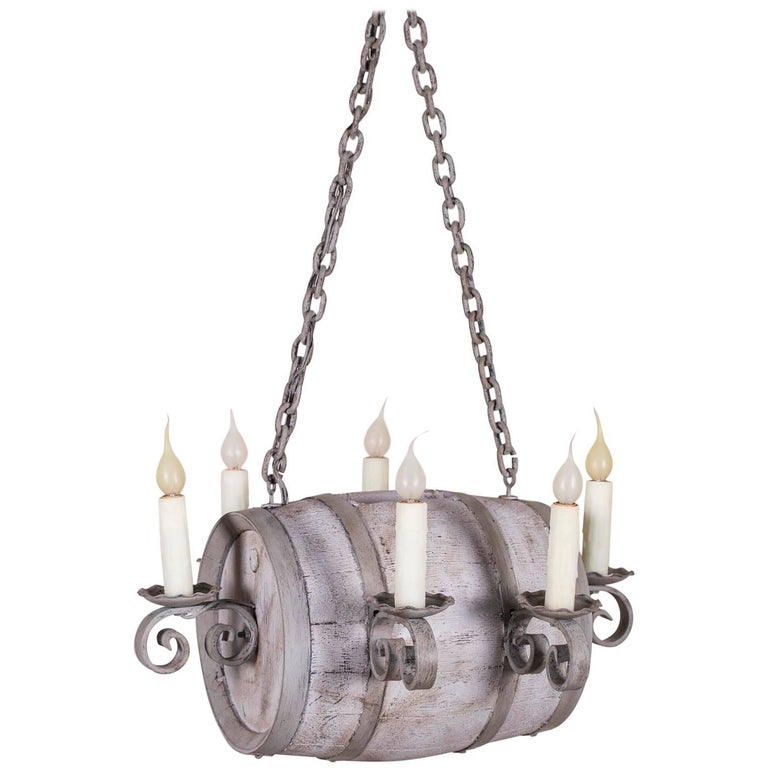 Vintage French Six Light Wine Barrel Chandelier France Circa 1950 For