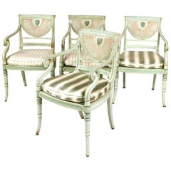 Set of Four 19th Century Painted Regency Style Neoclassical Armchairs