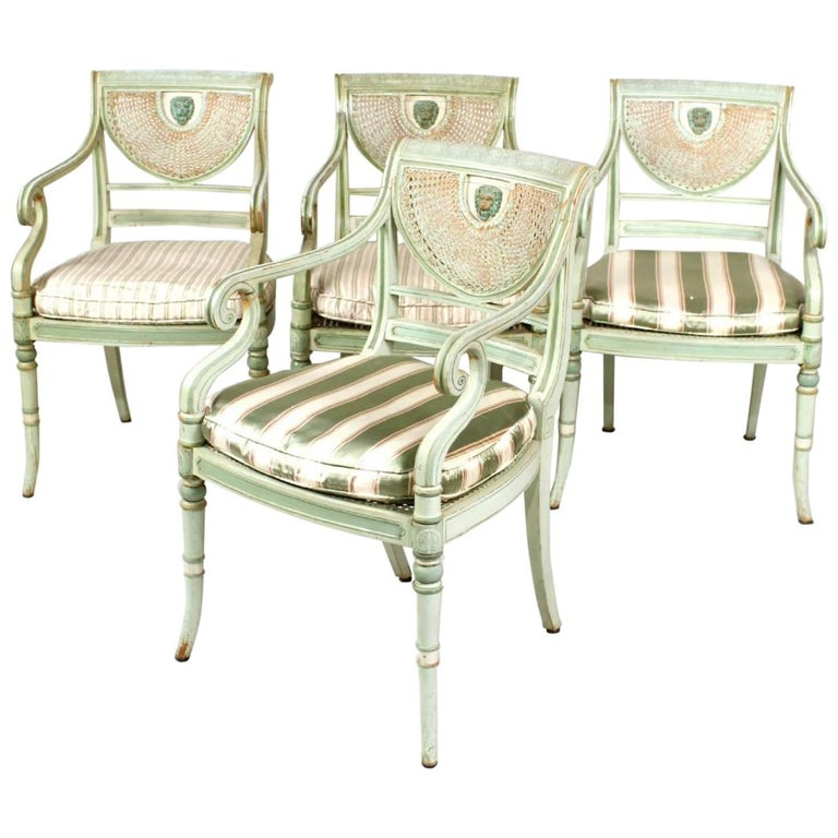 Set of Four 19th Century Painted Regency Style Neoclassical Armchairs For Sale