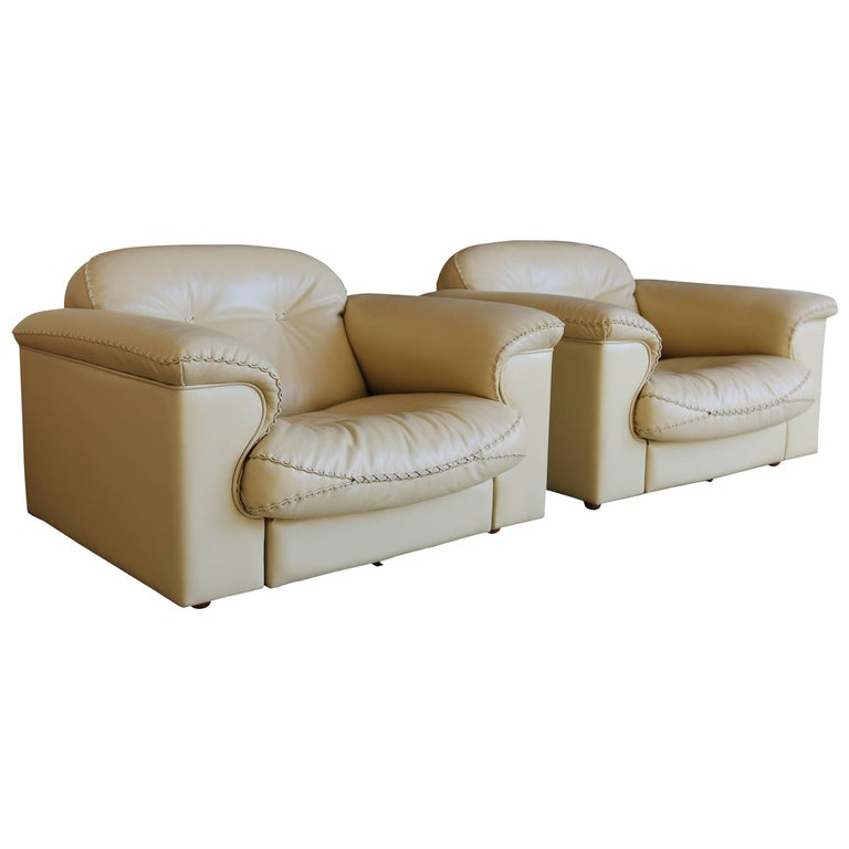 """Pair of De Sede """"DS-101"""" Leather Lounge Chairs"""