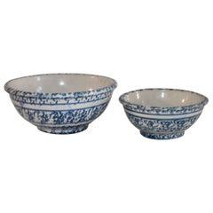 19th Century Spongeware Bowls Set