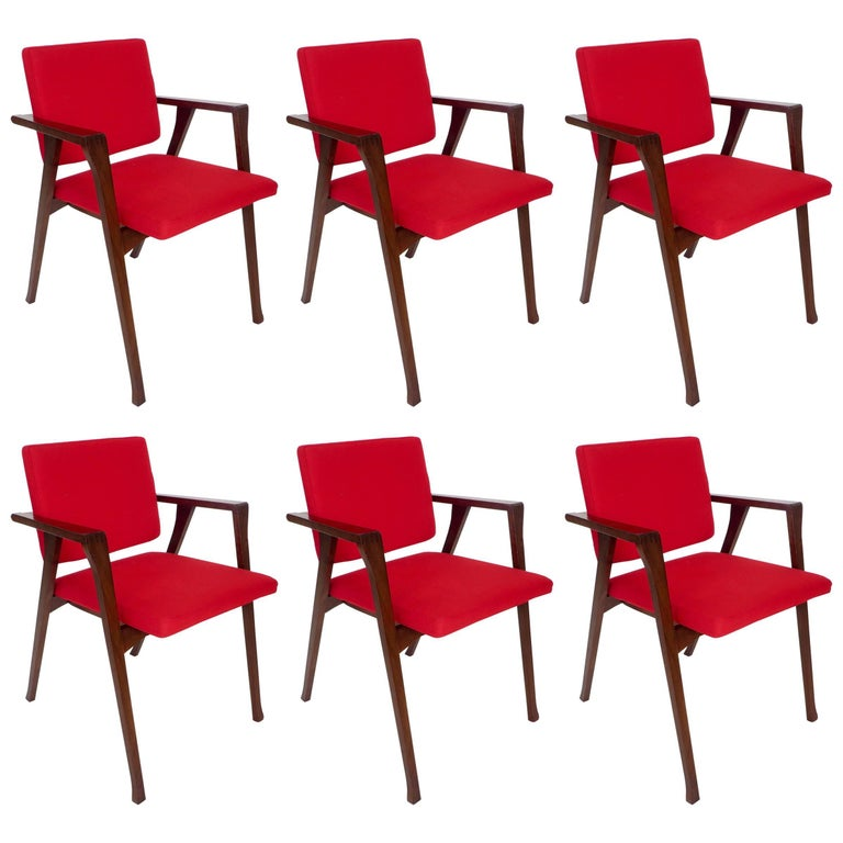 Franco Albini Luisa Italian Dining Chairs Set of Six for Poggi For Sale