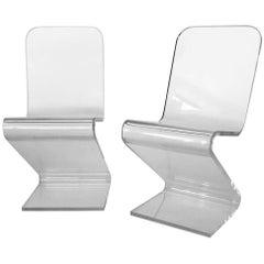 1970s Lucite Z Cantilever Chairs by Les Prismatique