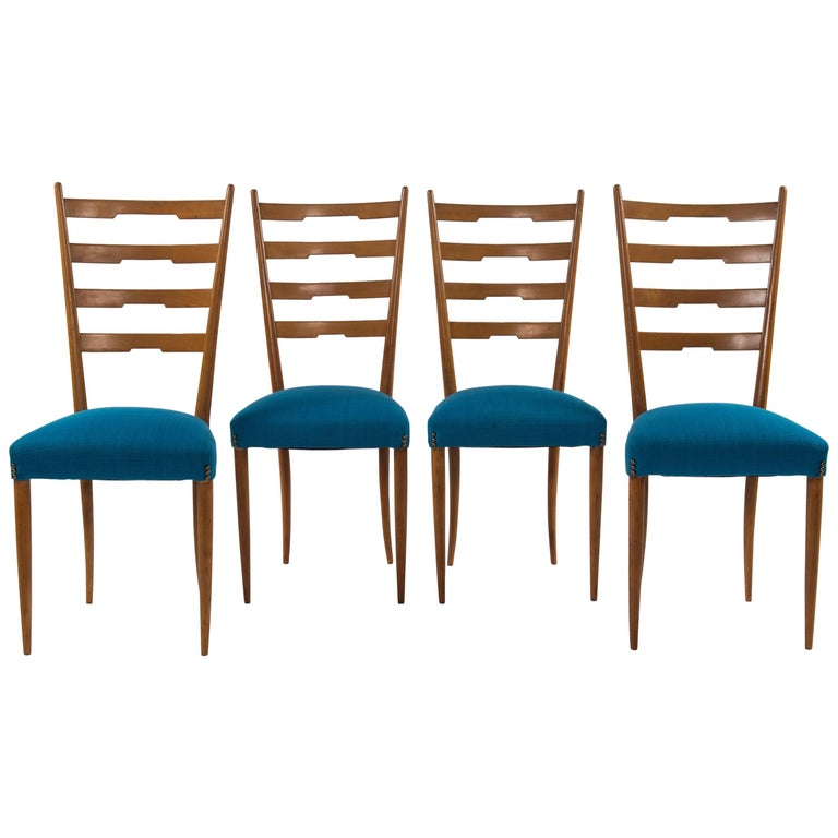 Set of Four Ico Parisi Style Italian Dining Chairs